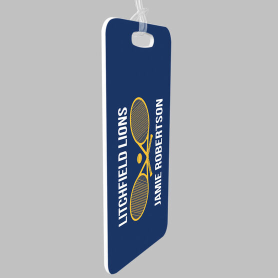 Tennis Bag/Luggage Tag - Personalized Text with Crossed Rackets