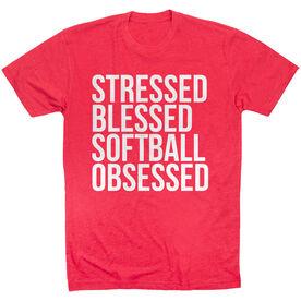 Softball Short Sleeve T-Shirt - Stressed Blessed Softball Obsessed