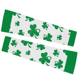Baseball Printed Arm Sleeves - Shamrock All Over Pattern With Baseballs