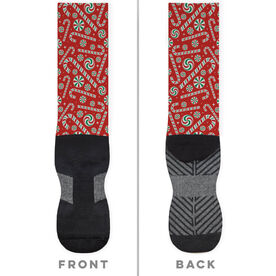 Printed Mid-Calf Socks - Candy Canes