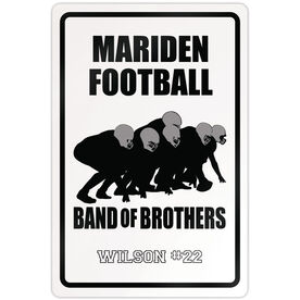 "Football 18"" X 12"" Aluminum Room Sign Personalized Football Band Of Brothers"