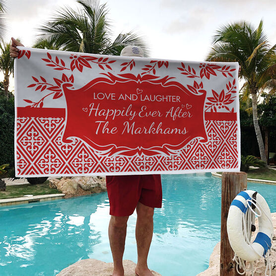 Personalized Premium Beach Towel - Happily Ever After