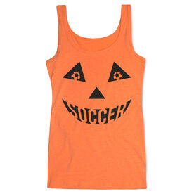 Soccer Women's Athletic Tank Top - Soccer Pumpkin Face