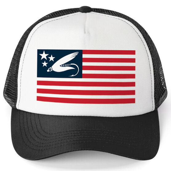 Fly Fishing Trucker Hat - American Flag