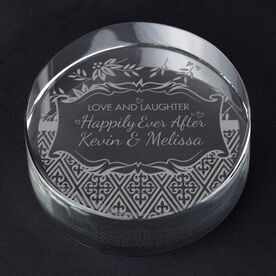 Personalized Engraved Crystal Gift - Love and Laughter Happy Ever After