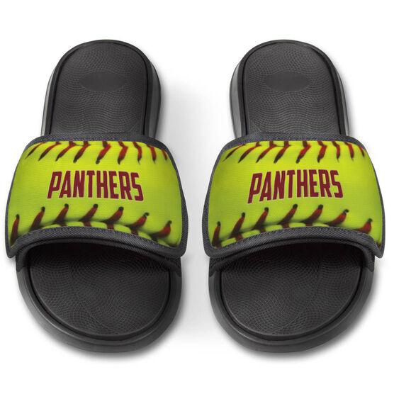 Softball Repwell® Slide Sandals - Personalized Softball Stitches