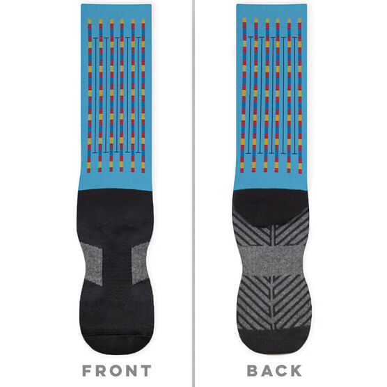 Swimming Printed Mid-Calf Socks - Lanes