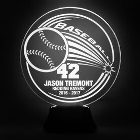 Baseball Acrylic LED Lamp Home Run With 3 Lines and Number