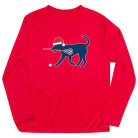 Guys Lacrosse Long Sleeve Performance Tee - Christmas Dog