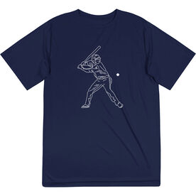 Baseball Short Sleeve Performance Tee - Baseball Player Sketch