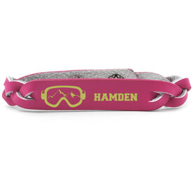 Skiing & Snowboarding Leather Engraved Bracelet - Goggles Your Text