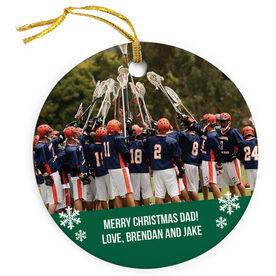 Guys Lacrosse Porcelain Ornament Custom Personalized Photo
