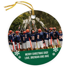 Guys Lacrosse Porcelain Ornament Custom Personalized Photo