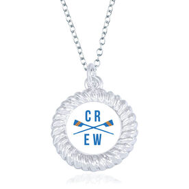 Crew Braided Circle Necklace - Crossed Oars With Crew Word
