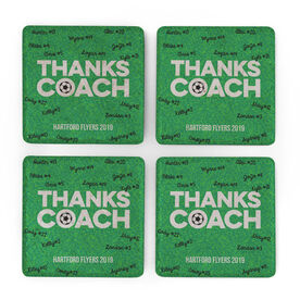 Soccer Stone Coasters Set of Four - Coach (Autograph)