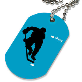 iPlay Hockey (Blue) Printed Dog Tag Necklace
