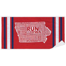 Running Premium Beach Towel - Iowa State Runner