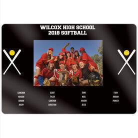 """Softball 18"""" X 12"""" Aluminum Room Sign - Team Photo With Roster"""