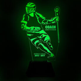 Guys Lacrosse Acrylic LED Lamp Player Coach With 3 Lines
