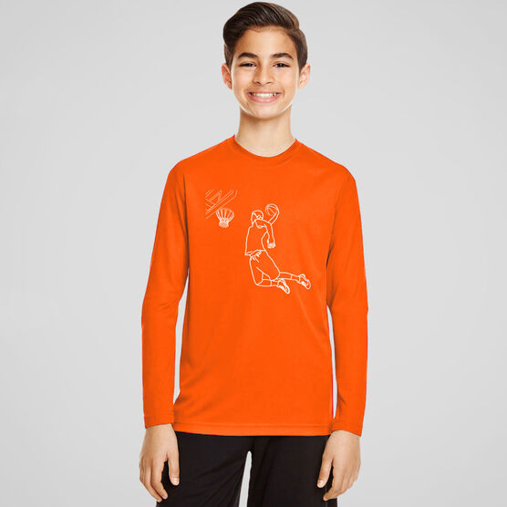 Basketball Long Sleeve Performance Tee - Basketball Player Sketch