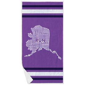 Running Premium Beach Towel - Alaska State Runner