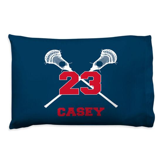 Guys Lacrosse Pillowcase - Personalized Crossed Sticks