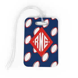 Rugby Bag/Luggage Tag - Personalized Rugby Pattern Monogram