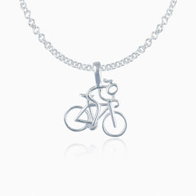 Sterling Silver Cyclist Stick Figure Necklace