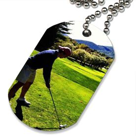 Custom Golf Photo Printed Dog Tag Necklace