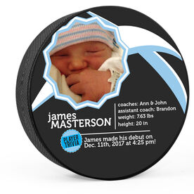 Personalized Hockey Puck Baby Boy Player Trivia