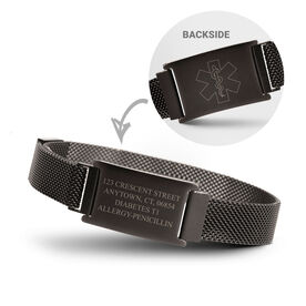 Running Adjustable Stainless Steel Magnetic Bracelet - Information with Medic Alert