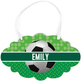 Soccer Cloud Sign - Personalized 2 Tier Patterns with Soccer Ball