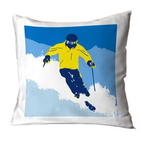 Skiing Throw Pillow - Ski Hard