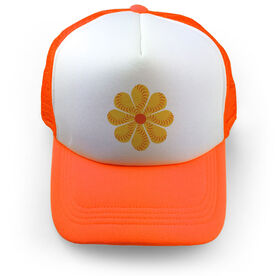 Softball Trucker Hat Flower