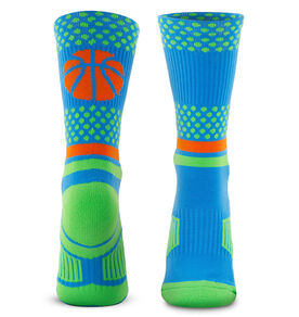 Basketball Woven Mid-Calf Socks - Dots (Blue/Green)