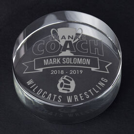 Wrestling Personalized Engraved Crystal Gift - Thanks Coach Banner