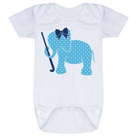 Field Hockey Baby One-Piece - Field Hockey Elephant with Bow