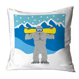 Snowboarding Throw Pillow - Yeti