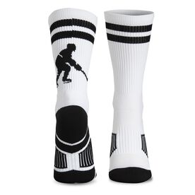 Hockey Woven Mid-Calf Socks - Player (White/Black)