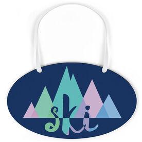 Skiing Oval Sign - Ski Mountain