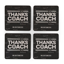 Skiing Stone Coasters Set of Four - Coach (Autograph)