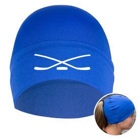 Performance Ponytail Cuff Hat Hockey Crossed Sticks