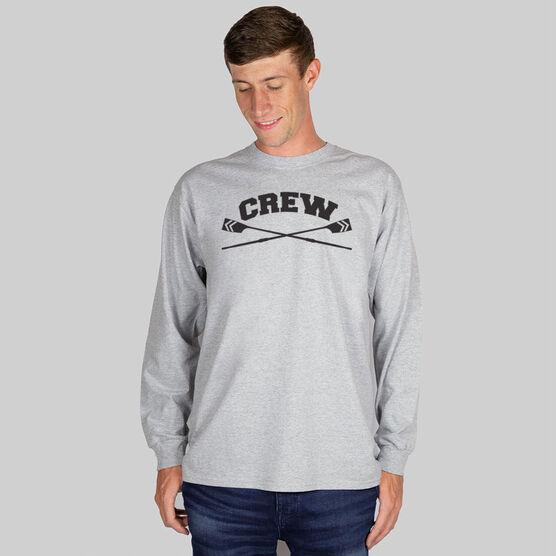 Crew Tshirt Long Sleeve Crew Crossed Oars Banner