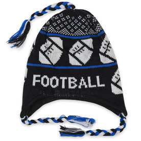Fleece Lined Knit FOOTBALL Hat Black/Blue
