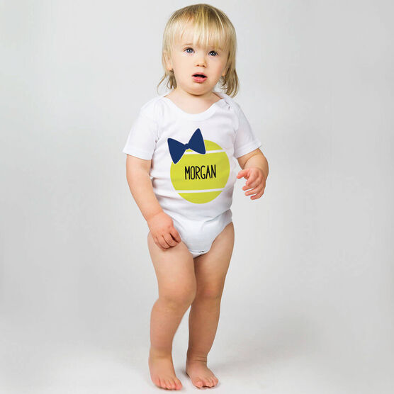 Tennis Baby One-Piece - Personalized Tennis Ball Bow