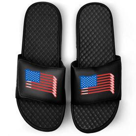 Hockey Black Slide Sandals - USA Hockey Flag