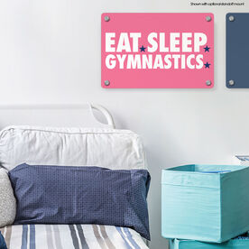 """Gymnastics 18"""" X 12"""" Aluminum Room Sign - Eat Sleep Gymnastics"""