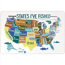 "Fly Fishing 18"" X 12"" Aluminum Room Sign - States I've Fished (Dry Erase)"