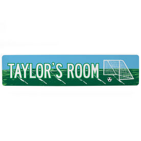 "Soccer Aluminum Room Sign - Personal Soccer Room (4""x18"")"