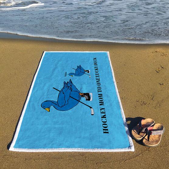 Hockey Premium Beach Towel - Mom Lucky Ducks
